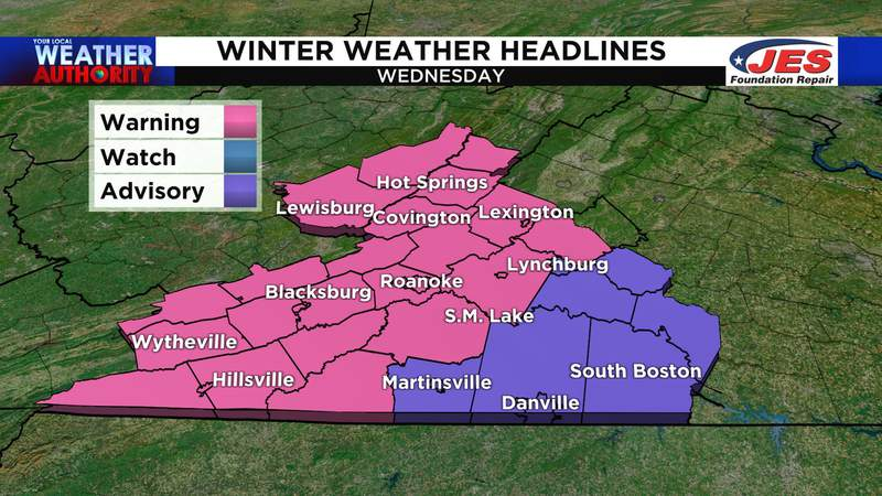 Winter weather alerts for Wednesday, 12/16/2020