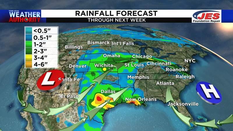 Rainfall forecast through next week