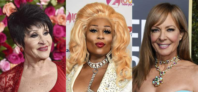 """Chita Rivera appears at the 72nd annual Tony Awards in New York on June 10, 2018, from left, Peppermint appears at Z100's iHeartRadio Jingle Ball in New York on Dec. 13, 2019 and Allison Janney appears at the 76th annual Golden Globe Awards in Beverly Hills, Calif., on Jan. 6, 2019. Broadway and the world of drag will combine later this month for a streaming variety show """"Divas For Democracy: United We Slay,to promote voter participation. The show will stream on StageIt on Oct. 18. (AP Photo)"""