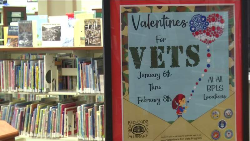 Library collecting Valentines for Vets