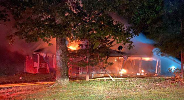 Crews are on the scene of a house fire in Danville