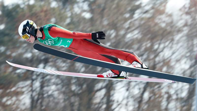 Feb 22, 2018; Pyeongchang, South Korea; Ben Berend (USA) jumps in the nordic combined mens team large hill and 4x5km ski jumping trial round during the Pyeongchang 2018 Olympic Winter Games at Alpensia Ski Jumping Centre.