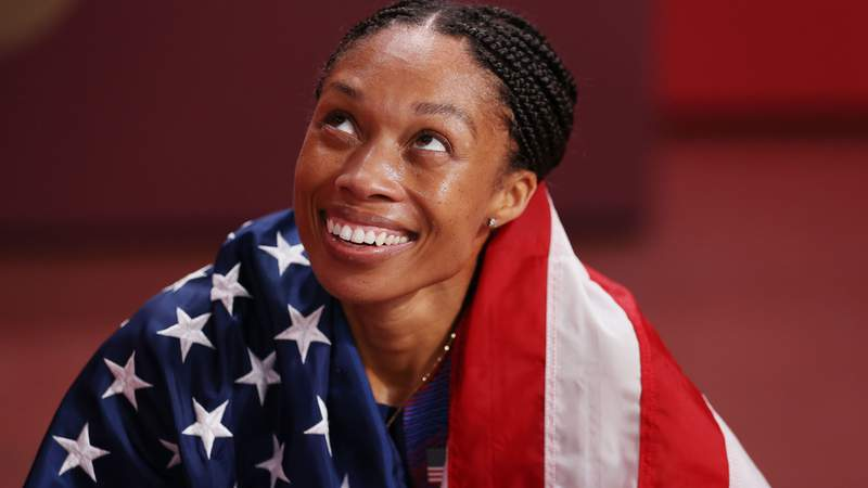 TOKYO, JAPAN - AUGUST 06: Allyson Felix of Team USA reacts after winning the bronze medal in the Women's 400m Final on day fourteen of the Tokyo 2020 Olympic Games at Olympic Stadium on August 06, 2021 in Tokyo, Japan. (Photo by Patrick Smith/Getty Images)