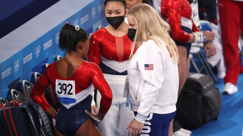 United States gymnastics star Simone Biles is sitting out the final three rotations of the women's team final.