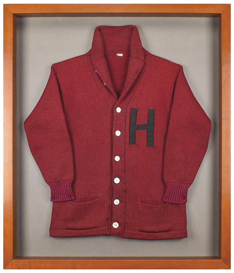 This undated photo released by RR Auction shows a Harvard University letter sweater that once belonged to former President John F. Kennedy, up for auction between Feb. 11-18, 2021, by the Boston-based auction firm. (Nikki Brickett/RR Auction via AP)
