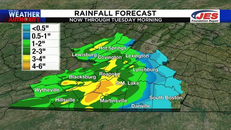 Estimated rain totals for Monday