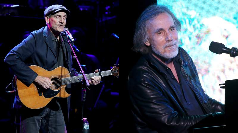 LEFT: James Taylor performs onstage during the The Rainforest Fund 30th Anniversary Benefit Concert Presents 'We'll Be Together Again' at Beacon Theatre on December 09, 2019 in New York City. (Photo by Kevin Kane/Getty Images for The Rainforest Fund) RIGHT: Jackson Browne performs onstage at 2019 SeaChange Summer Party benefitting Oceana held on September 07, 2019 in Laguna Beach, California. (Photo by Michael Tran/Getty Images)