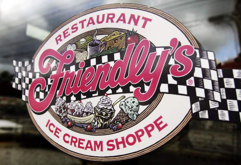 FILE - This Oct. 5, 2011 file photo shows a sign displayed on the door at Friendly's restaurant in Brunswick, Maine. Friendly's Restaurant, an East Coast restaurant chain known for its sundaes, is filing for bankruptcy protection. The company said it will sell substantially all of its assets to the restaurant company, Amici Partners Group, and all 130 of its locations will remain open while in restructures under Chapter 11 bankruptcy protection. (AP Photo/Pat Wellenbach, File)