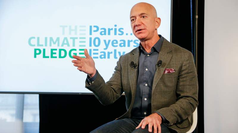 Amazon CEO Jeff Bezos announces  the co-founding of The Climate Pledge at the National Press Club on September 19, 2019 in Washington, DC. (Photo by Paul Morigi/Getty Images for Amazon)