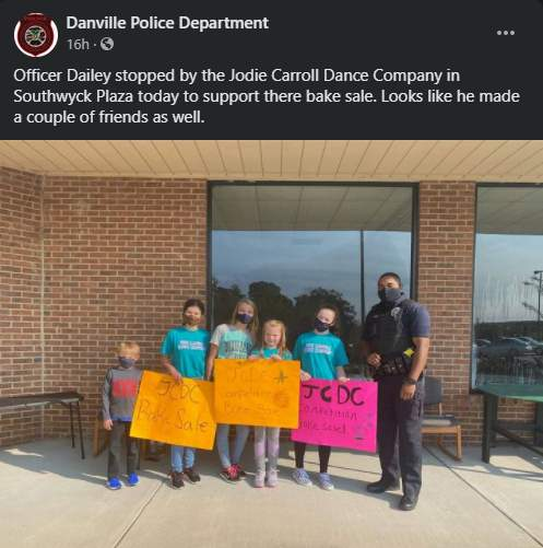 A Danville police officer is supporting a group of local kids.