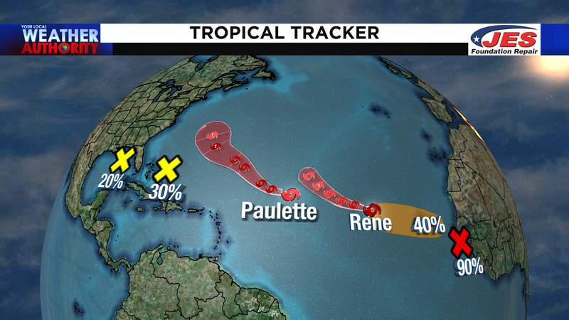Storms in the Atlantic basin as of Thursday morning, 9/10/2020