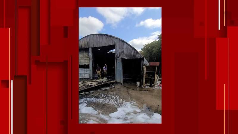 Crews respond to fire at Rustburg body shop.