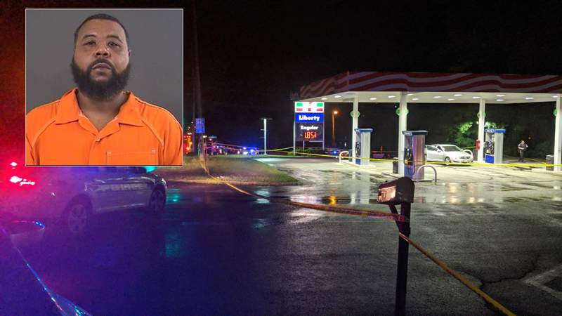 Mario Reynolds' mugshot over the crime scene of the shooting at 7-Eleven on July 28, 2020, in Roanoke County.