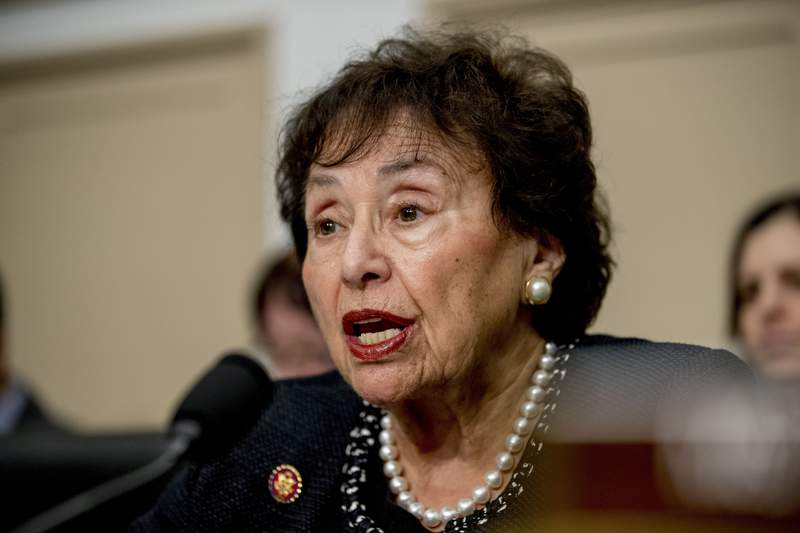 FILE - In this March 10, 2020, file photo, full committee Chairwoman Nita Lowey, D-N.Y., speaks during a House Appropriations subcommittee hearing on the Centers for Disease Control and Prevention budget on Capitol Hill in Washington. Eyeing a major expansion of federal assistance, top Democrats are promising that small- to medium-sized cities and counties and small towns that were left out of four prior coronavirus bills will receive hundreds of billions of dollars in the next one. Its an effort that the large class of freshman House Democrats has rallied around, along with many Republicans, and has the backing of key decision-makers like Lowey, and House Speaker Nancy Pelosi. (AP Photo/Andrew Harnik, File)