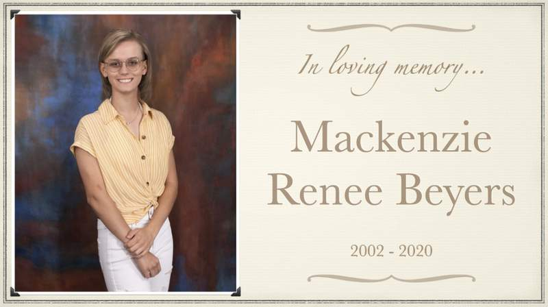 Lord Botetourt High School senior Mackenzie Beyers, 18, died on Tuesday after she was hit by a car in Roanoke on May 15.