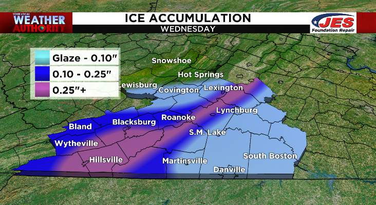 Ice accumulation forecast for Wednesday, 12/16/2020
