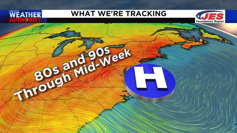 Heat and humidity last through mid-week