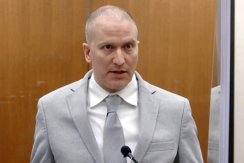 In this June 25, 2021, file image taken from pool video, former Minneapolis police Officer Derek Chauvin addresses the court as Hennepin County Judge PeterCahill presides over Chauvin's sentencing at the Hennepin County Courthouse in Minneapolis. Chauvin, convicted of murder in George Floyds death, intends to appeal his conviction and sentence, saying the judge abused his discretion or erred during several key points in the case, according to documents filed Thursday., Sept. 23, 2021. (Court TV via AP, Pool, File)