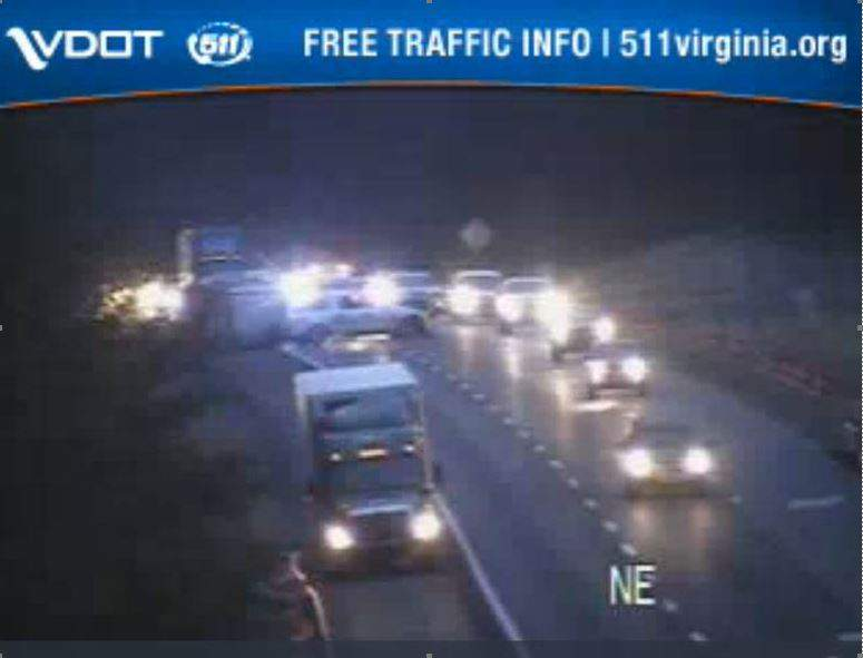 VDOT camera shows traffic delays at mile marker 143 in Roanoke County.