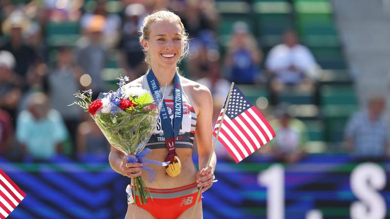 EUGENE, OREGON - JUNE 26: Emily Sisson, first, celebrates on the podium after the Women's 10,000 Meters Final on day nine of the 2020 U.S. Olympic Track & Field Team Trials at Hayward Field on June 26, 2021 in Eugene, Oregon. (Photo by Andy Lyons/Getty Images)