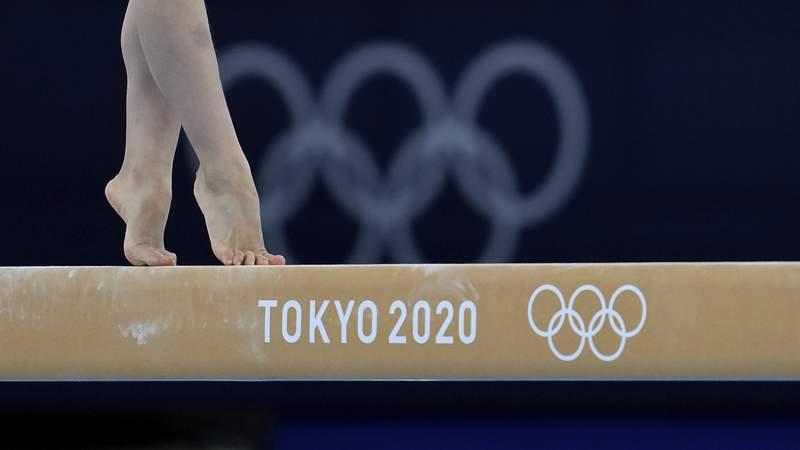 Japan's Urara Ashikawa trains on the beam for the artistic gymnastics at Ariake Gymnastics Centre venue ahead of the 2020 Summer Olympics, Thursday, July 22, 2021, in Tokyo, Japan. (AP Photo/Natacha Pisarenko)