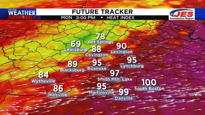 FutureTracker - Heat index Monday afternoon