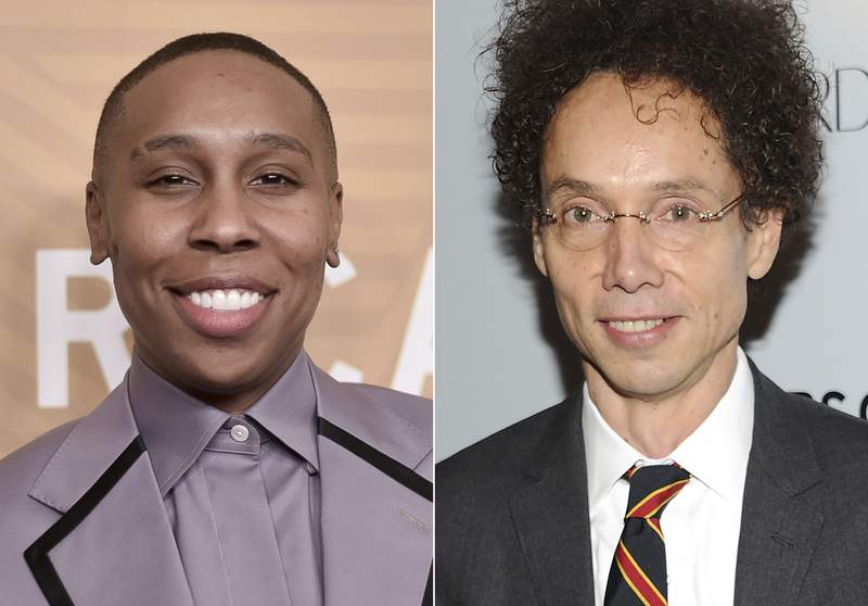 This combination photo shows Lena Waithe, left, and Malcolm Gladwell, who will join several influencers on an advisory board for Audible to help discover new talent. The online audiobook and podcast platform announced Monday the formation of the Emerging Voices Advisory Board. The diverse board of esteemed artists, podcasters, producers and writers was created to help Audible experts define and further the creative vision of storytellers. (AP Photo)