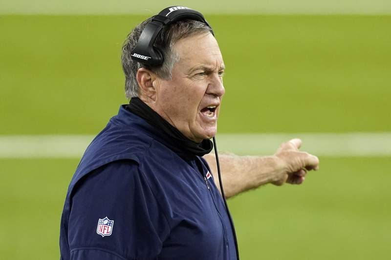 New England Patriots head coach Bill Belichick yells from the sideline during the second half of an NFL football game against the Los Angeles Rams Thursday, Dec. 10, 2020, in Inglewood, Calif. (AP Photo/Ashley Landis)