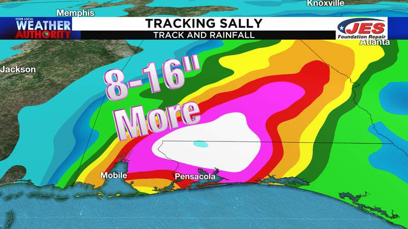 Additional rain expected from Sally along the Gulf Coast