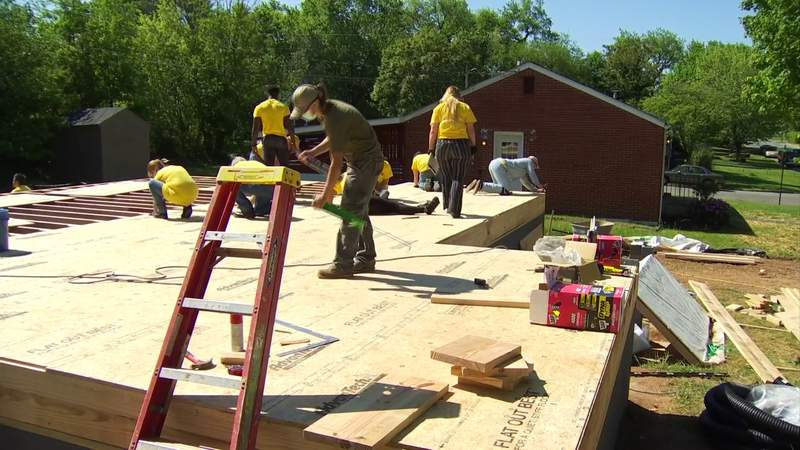 Marvin team members make progress on our 'Habitat for Humanity' home