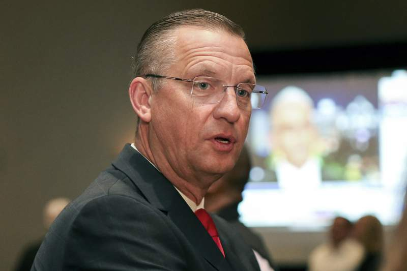 FILE - Republican candidate for Senate Rep. Doug Collins attends an election night watch party in Buford, Ga., in this Tuesday, Nov. 3, 2020, file photo. Collins announced Monday, April 26, 2021, that he will not run for governor or U.S. Senate in Georgia in 2022. (AP Photo/Brett Davis, File)