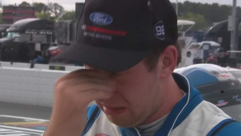 Chase Briscoe is emotional after the win.