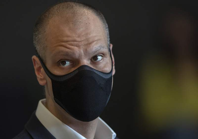 In this Sept. 4, 2020 photo, Sao Paulo Mayor Bruno Covas looks on during a news conference about how the state worst-hit by COVID-19 is managing six months into the pandemic, and ongoing vaccine trials, in Sao Paulo, Brazil. Covas has died of cancer on Sunday May 16, 2021, according to the Sao Paulo city press office. (AP Photo/Andre Penner)