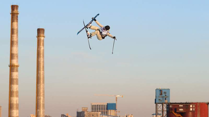 A freestyle skier in action, competing in the men's freeski big air finals during the 2019 Air+Style Beijing FIS SnowBoard World Cup at Shougang Park on Dec. 14, 2019, in Beijing, China.