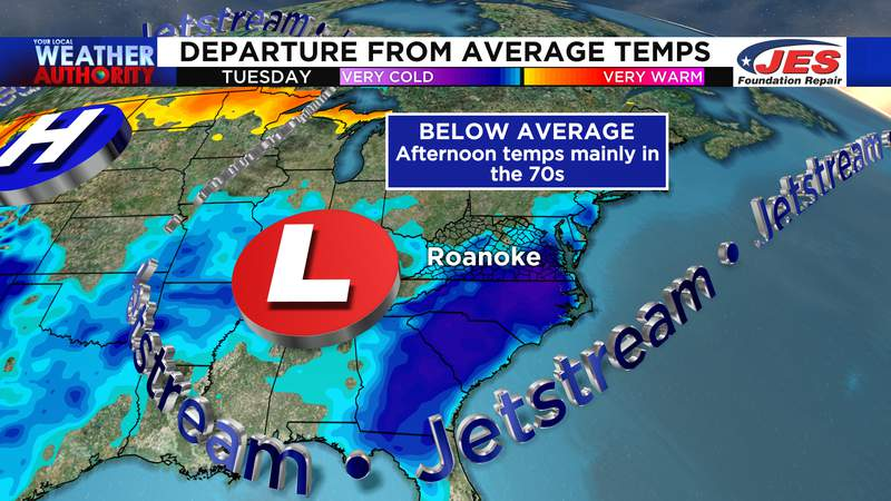 Cooler than average temperatures expected Tuesday