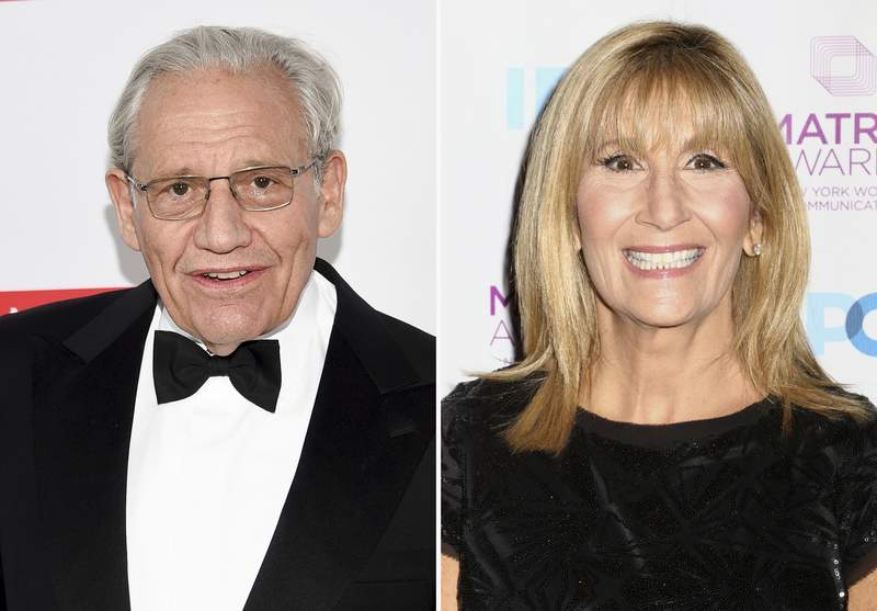 """In this combination photo, honoree Bob Woodward, left, attends the PEN America Literary Gala on May 21, 2019, in New York and Jamie Gangel attends the New York Women in Communications Matrix Awards on April 25, 2016, in New York. Woodward, the author of """"Rage,"""" said CNN reporter Jamie Gangel helped convince him to release audio tapes of his interviews with President Donald Trump, with Trump telling him that he played down dangers of the coronavirus epidemic in order not to create a panic, giving the book a bigger initial impact than words on a page would have alone. (AP Photo)"""