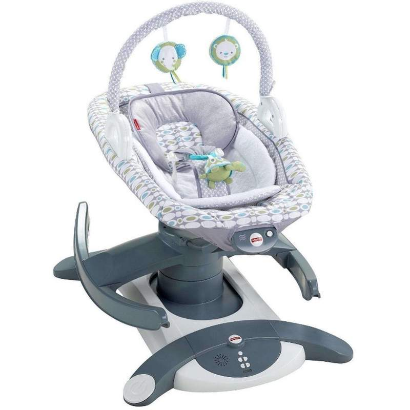 This photo provided by Consumer Product Safety Commission shows Fisher-Price 4-in-1 Rock n Glide Soothers. Fisher-Price says it is recalling a model of its baby soothers, Friday, June 4, 2021,  after the deaths of four infants who were placed on their backs unrestrained in the devices and later found on their stomachs. In a joint statement with the Consumer Product Safety Commission, Fisher-Price said Friday it is recalling its 4-in-1 Rock n Glide Soothers, which are designed to mimic the motion of a baby being rocked in someones arms. (Consumer Product Safety Commission via AP)