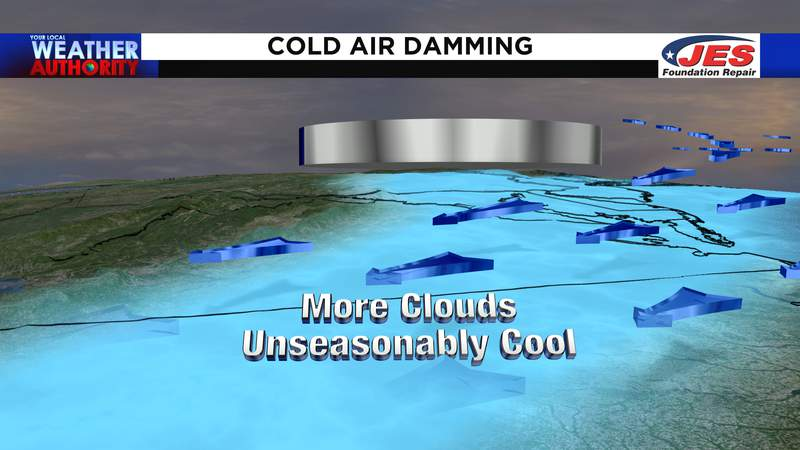 Cold air damming to bring more clouds and unseasonably cool air Sunday