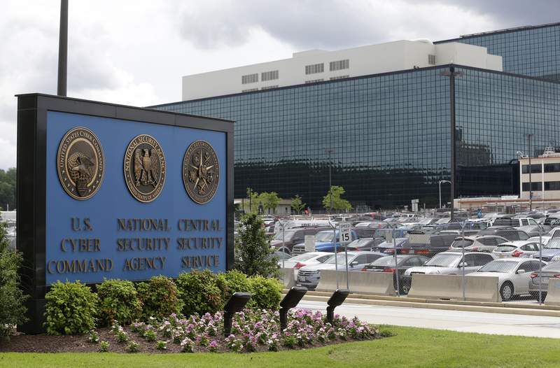 FILE - This Thursday, June 6, 2013 file photo shows the National Security Administration (NSA) campus in Fort Meade, Md. The number of targets of secretive surveillance in national security investigations fell sharply last year amid the coronavirus pandemic and continued scrutiny of the FBIs wiretapping authorities arising from the Russia investigation.  (AP Photo/Patrick Semansky, File)