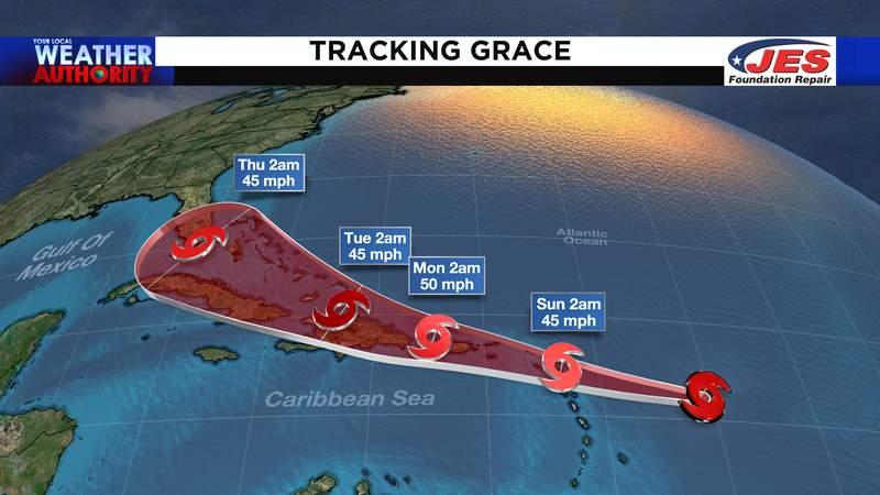 NHC path for Tropical Storm Grace - 7 a.m., 8/14/2021