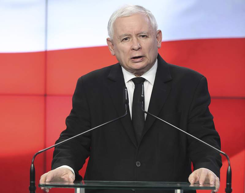FILE - In this Thursday, Aug. 8, 2019 file photo, Jaroslaw Kaczynski, the head of Poland's ruling party, speaks at a news conference where the speaker of the parliament resigns in Warsaw, Poland. Polands most powerful politician says the countrys future is in the European Union but that Poland also wishes to remain a sovereign country. Jaroslaw Kaczynski, who is the head of the ruling conservative party made his comments in an interview with the state news agency, published Wednesday, Sept. 15, 2021. (AP Photo/Czarek Sokolowski, File)