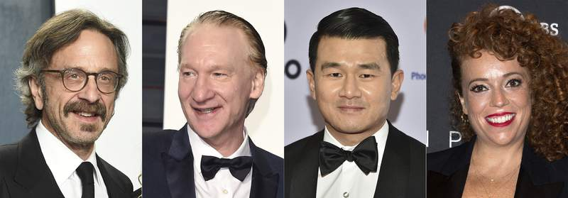 This combination photo shows comedians, from left, Marc Maron, Bill Maher, Ronny Chieng and Michelle Wolf, who will headline this years New York Comedy Festival. The festival runs from Nov. 8  14. Over 200 comedians, late-night hosts and podcast stars will perform in more than 100 shows at places like the Beacon Theatre, Carnegie Hall, Town Hall, Carolines on Broadway and the Hulu Theater at Madison Square Garden. (AP Photo)