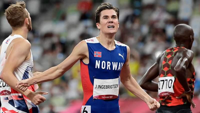 Norway's Jakob Ingebrigtsen wins the men's 1500m final at the 2020 Tokyo Olympic Games.