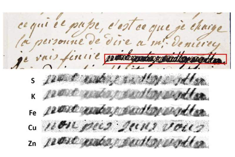 """This image provided by researchers shows a section of a letter dated Jan. 4, 1792 by Marie-Antoinette, queen of France and wife of Louis XVI, to Swedish count Axel von Fersen, with a phrase (outlined in red) redacted by an unknown censor. The bottom half shows results from an X-ray fluorescence spectroscopy scan on the redacted words. The copper (Cu) section reveals the French words, non pas sans vous"""" (not without you""""). (Anne Michelin, Fabien Pottier, Christine Andraud via AP)"""