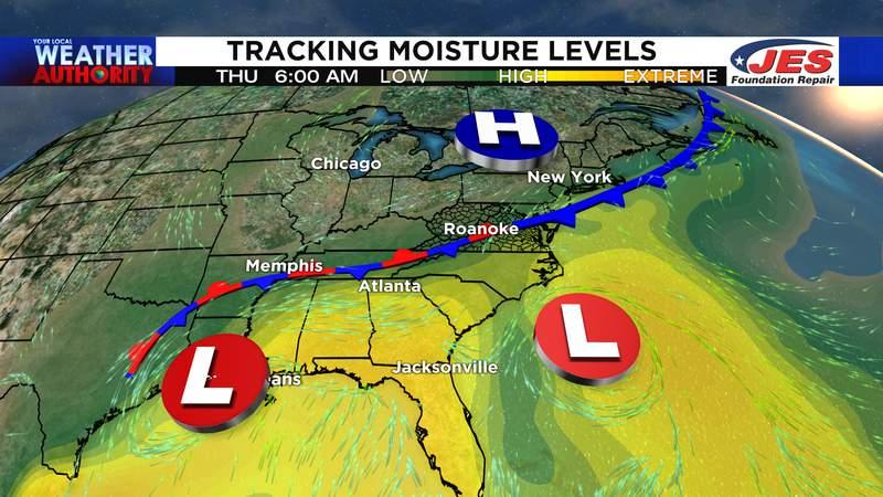 Tracking moisture levels Thursday