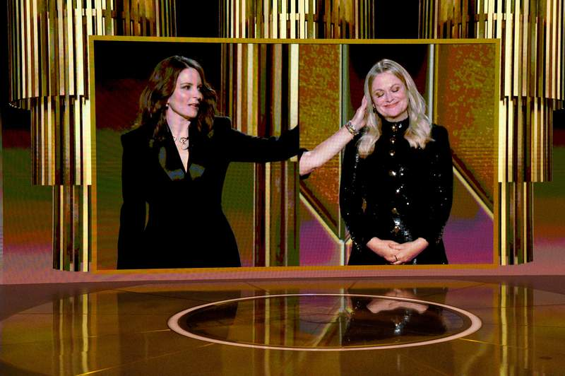 Tina Fey and Amy Poehler speak via livestream during the 78th Annual Golden Globe® Awards at The Rainbow Room on February 28, 2021 in New York City. (Photo by Kevin Mazur/Getty Images for Hollywood Foreign Press Association)