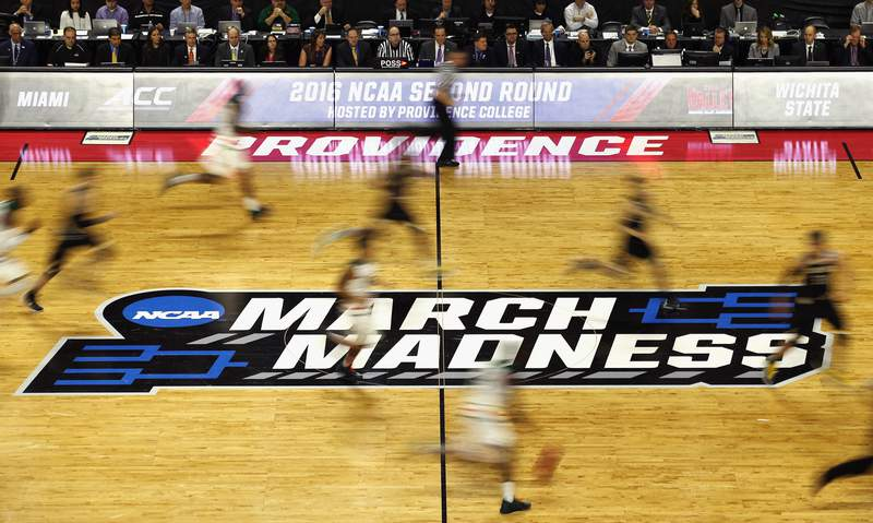 A general view as the Miami Hurricanes face the Wichita State Shockers in an NCAA men's basketball tournament game.
