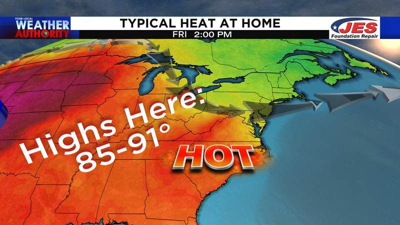 Typical summer heat the rest of the week and this weekend