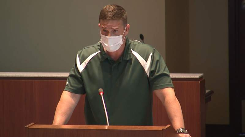 Tanner Cross speaking during the Loudoun County School Board meeting on May 25, 2021.