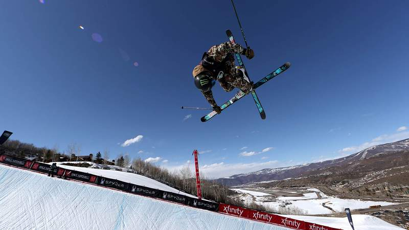 ASPEN, COLORADO - MARCH 12:  David Wise of the United States competes in the men's freeski halfpipe final during Day 3 of the Aspen 2021 FIS Snowboard and Freeski World Championship at Buttermilk Ski Resort on March 12, 2021 in Aspen, Colorado. (Photo by Sean M. Haffey/Getty Images)